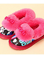 Girls' Shoes Flocking Leatherette Fall Winter Fluff Lining Comfort Slippers & Flip-Flops For Casual Royal Blue Fuchsia Beige Black