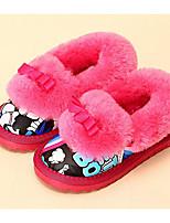 Fille Chaussures Flocage Similicuir Automne Hiver Confort Doublure fluff Chaussons & Tongs Pour Décontracté Noir Beige Fuchsia Bleu royal