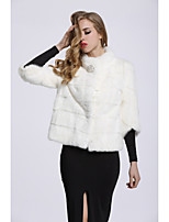 Women's Daily Sophisticated Winter Fall Fur Coat,Solid Stand Short Fox Fur