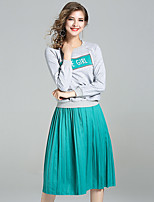 YIYEXINXIANGWomen's Going out Casual/Daily Simple Fall Hoodie Skirt SuitsSolid Letter Round Neck Long Sleeve