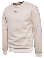 Men's Going out Casual/Daily Simple Sexy Sweatshirt Letter Round Neck Micro-elastic Cotton Long Sleeve Spring Fall