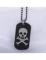Men's Women's Pendant Necklaces Square Skull Stainless Steel Punk Hip-Hop Jewelry For Daily Casual