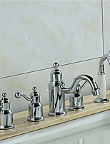 Tub And Shower Ceramic Valve Three Handles Five Holes for  Chrome , Bathtub Faucet