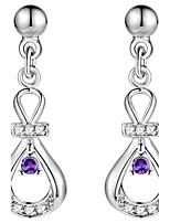Women's Drop Earrings AAA Cubic Zirconia Fashion Elegant Silver Cubic Zirconia Drop Jewelry For Wedding Party