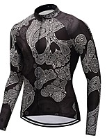 Cycling Jersey Unisex Long Sleeves Bike Jersey Quick Dry Skull Winter Mountain Cycling Cycling Motorsports Mountain Bike/MTB Black
