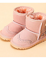 Girls' Shoes Cowhide Fall Winter Fluff Lining Snow Boots Boots For Casual Camel Blushing Pink Fuchsia Dark Blue