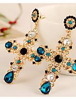 Women's Drop Earrings Rhinestone Sexy Statement Jewelry Rhinestone Alloy Flower Cross Jewelry For Wedding Gift Formal Date Work