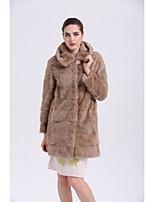 BF-Fur Style Women's Party Simple Winter Fur Coat,Solid Stand Long Sleeve Long Fox Fur