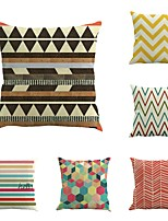 Set Of 6 Linen Geometry Stripe Cushion Cover Creative Pillow Cover Personality Pillow Case 45*45Cm