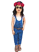 Girls' Solid Sets,Cotton Spring Fall Sleeveless Clothing Set