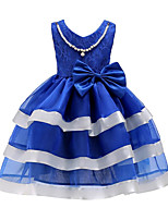 Girl's Birthday Casual/Daily Holiday Solid Striped Dress,Cotton Others Fall All Seasons Short Sleeve