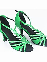 Women's Latin Flocking Performance Crystal Detailing Crystal Stiletto Heel Green 2