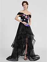 Ball Gown Off-the-shoulder Asymmetrical Organza Formal Evening Dress with Appliques Ruffles Pleats by TS Couture®