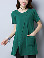 Women's Going out Vintage Casual T-shirt,Solid Round Neck Short Sleeves Cotton