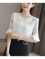 Women's Casual/Daily Simple Blouse,Solid Round Neck Half Sleeves Cotton Linen