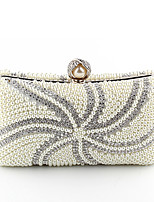 Women Bags All Seasons Polyester Evening Bag with Pearl Detailing for Wedding Event/Party Beige