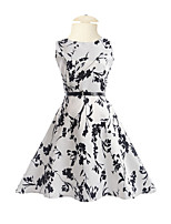 Girl's Daily Going out Holiday Solid Floral Dress,Polyester Spring Summer Half Sleeves Floral White