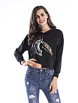 Women's Daily Going out Winter Fall T-shirt,Letter Hooded 3/4 Length Sleeves Cotton Thin