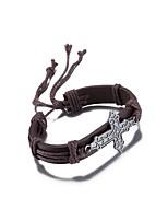 Homme Femme Bracelets Bracelets en cuir Cuir Plaqué argent Bijoux Pour Décontracté