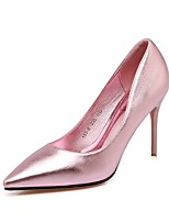 Women's Shoes PU Summer Fall Comfort Heels Pointed Toe For Wedding Dress Blushing Pink Silver Black Gold