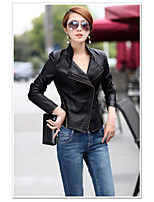 Women's Going out Sexy Street chic Fall Leather Jacket,Solid Stand Long Sleeve Regular PU Others