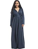 Ample Robe Femme Décontracté / Quotidien Grandes Tailles Chic de Rue,Couleur Pleine Col en V Maxi Manches Longues Coton Polyester Spandex