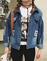 Giacca di jeans Da donna Casual Semplice Autunno Inverno,Alfabetico Colletto Altro Standard Manica lunga