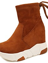 Women's Shoes Suede Fall Comfort Boots Wedge Heel Round Toe Mid-Calf Boots For Casual Yellow Black