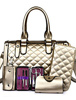 Women Bags All Seasons PU Bag Set Zipper for Casual Gold Black