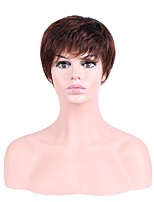 Women Synthetic Wig Capless Short Straight Brown Natural Hairline Layered Haircut Party Wig Halloween Wig Natural Wigs Costume Wig