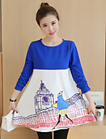 Women's Daily Going out Cute Sophisticated Fall T-shirt,Print Color Block Round Neck Long Sleeves Cotton