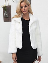Women's Daily Simple Casual Winter Fall Fur Coat,Solid Stand Short Rex Rabbit Fur
