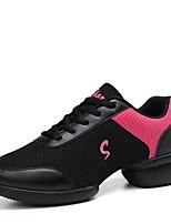 Women's Dance Sneakers Breathable Mesh Sneaker Outdoor Low Heel Red Black White 1
