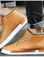 Men's Shoes PU Fall Winter Light Soles Sneakers For Casual Brown Gray Black