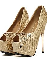 Women's Shoes Paillette PU Spring Fall Comfort Novelty Wedding Shoes Stiletto Heel Peep Toe Sequin For Wedding Party & Evening Gold