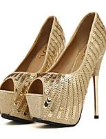 Femme Chaussures Paillettes Polyuréthane Printemps Automne Confort Nouveauté Chaussures de mariage Bout ouvert Paillette Pour Mariage