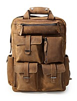Men Bags Cowhide Backpack Pockets Zipper for Casual Outdoor All Seasons Brown