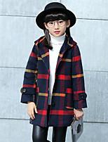 Girls' Plaid Jacket & Coat,Polyester Fall Winter Long Sleeve