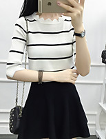 Women's Going out Casual T-shirt,Solid Striped Round Neck 3/4 Length Sleeves Cotton