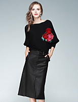 EWUS Women's Going out Casual/Daily Dresses&Skirts Fall Sweater Skirt Suits,Flower/Floral Round Neck Long Sleeve Stretchy