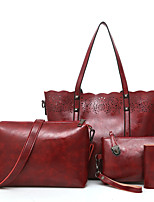 cheap -Women's Bags PU Bag Set 4 Pieces Purse Set Embroidery for Casual Office & Career All Seasons Black Red Gray Brown