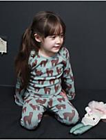 Girls' Animal Print Sleepwear-Spandex-Fall Winter Long Sleeve