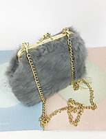 Women Bags All Seasons Suede Evening Bag Feathers / Fur for Wedding Event/Party Blushing Pink Dark Gray Sillver Gray Wine Khaki
