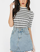 cheap -Women's Daily Holiday Street chic Winter Fall T-shirt,Striped Turtleneck ½ Length Sleeve Polyester