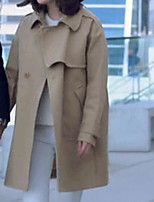 Women's Casual/Daily Simple Fall Trench Coat,Solid Shawl Lapel Long Sleeve Long Cotton Acrylic