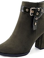 Women's Shoes PU Suede Fall Comfort Fashion Boots Boots Chunky Heel Round Toe Mid-Calf Boots For Casual Green Brown Black
