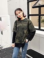 T-shirt Da donna Casual Punk & Gotico Monocolore Camouflage Rotonda Cotone Manica lunga