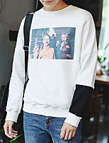 Men's Going out Sweatshirt Print Round Neck Micro-elastic Others Long Sleeve Spring Fall