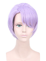 Men Synthetic Wig Capless Short Straight Bright Purple Side Part Middle Part Pixie Cut With Bangs Party Wig Halloween Wig Cosplay Wig
