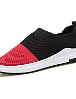 Hombre Zapatos PU Primavera Otoño Confort Zapatos de taco bajo y Slip-On Para Casual Gris Negro/blanco Negro/Rojo